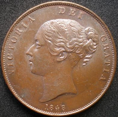 1848/7 Penny Close-Up Of Date